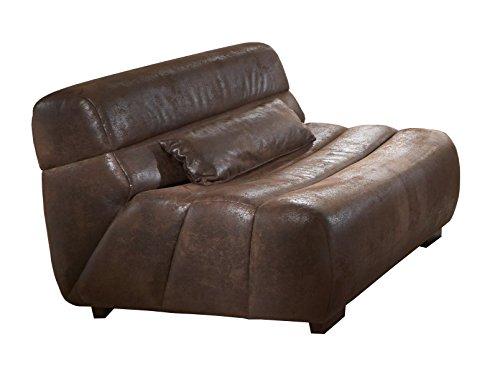 Cavadore Sessel Scoutano in Antiklederoptik - XXL-Sessel ohne Lehne im Industrial Design