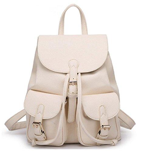 Greeniris Zaino Lady Fashion PU Schoolbag Borsa a tracolla sveglio e bello bianco