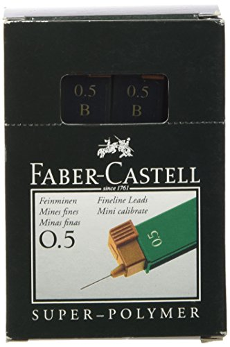 Faber-Castell 0.5mm Super-Polymer Leads, Degree B Tube of 12 Leads – Mina de repuesto (Degree B Tube of 12 Leads), paquete de 12 unidades