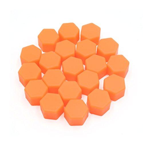 sourcing map 20pcs 19mm Lumineux Orange écrou Roue Voiture Cache-vis moyeu vis Bouchon Protection