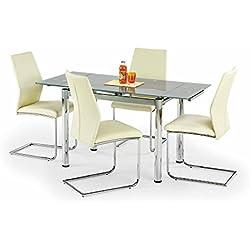 JUSTyou Table de Salle à Manger Logan 2 Extensible en Verre Cendre (LxlxH): 96÷142/70/75 cm