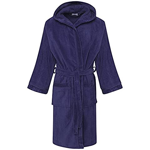 Kids Boys 100% Egyptian Cotton Velour Terry Towelling Bath Robe Hooded (6-8 Years, Berry /