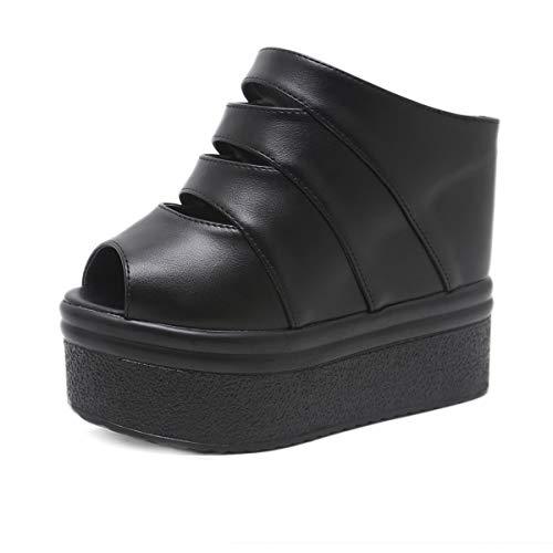 YAN Women es High Heel Slippers New Summer Sexy High Heels Sandals Peep Toe Wedge Schuhe Clogs & Mules Casual Walking Shoes White Black,Black,38 -