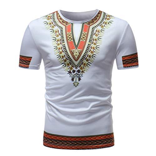 TEBAISE T-Shirt Herren Männer Dashiki Afrikanischen Traditionelles Oberteil Stammes Kurze Ärmel Hip Hop Shirts African Print Tops mit afrikanischem Druck 2019 Sommer Kurzarmshirt