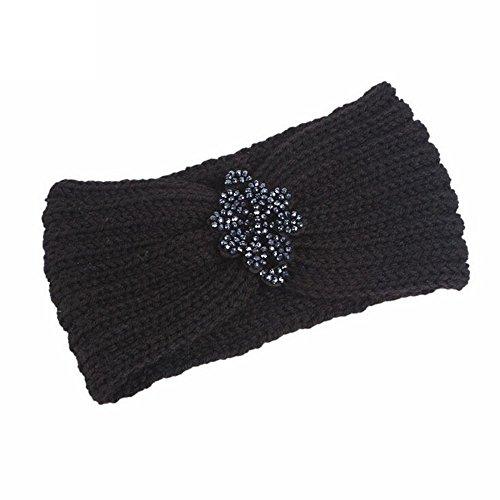 OSYARD Damen Mädchen Stirnband Kopfband Headband, Frauen Winter Warm Gestrickte Stirnbänder mit Strass Häkeln Headwrap Haarband Hut Cap Ohr Wärmer Elegante Mode Kopfband ElastischeOhrenwärmer