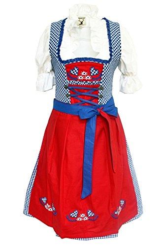 Alpenmärchen 3tlg. Dirndl-Set - Trachtenkleid, Bluse, Schürze, Größe - 38, blau-rot