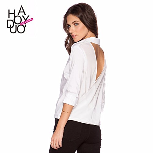 Femmes Sexy Blanc A Manches Longues Col V Backless Revers Plisse Slim Shirt Top Blouse Blanc