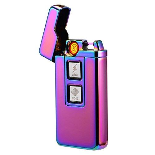 lingan Feuerzeuge USB Arc Feuerzeug Wiederaufladbare Flammenlose winddicht Plasma Coil Elektrische Zigarre Zigarettenanzünder 2in 1Touch Bedienelemente, violett