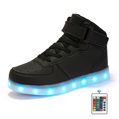 FLARUT LED Schuhe High Top Light Up Sneakers USB Aufladung Blinkende Schuhe Mit Fernbedienung Für Frauen Männer Kinder Jungen Mädchen Schwarz