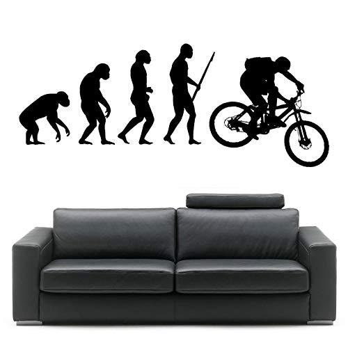 Crjzty Darwin Evolution des Menschen Mountainbike Kunst Design Home Dekorative Vinyl Wandbild Kreative Wandaufkleber 57 * 143 cm