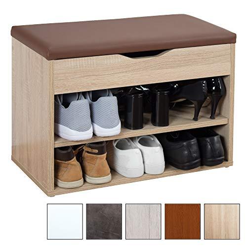 RICOO Sitzbank mit Schuhregal WM032-ES-B Sitzfläche Aufklappbar Holz Sonoma  Eiche Polster Braun | BxHxT 60x42x29 | Schuhschrank Schuhablage ...
