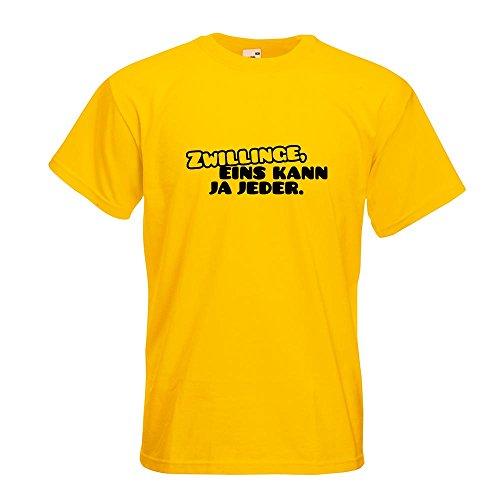 KIWISTAR - Zwillinge, eins kann jeder! T-Shirt in 15 verschiedenen Farben - Herren Funshirt bedruckt Design Sprüche Spruch Motive Oberteil Baumwolle Print Größe S M L XL XXL Gelb