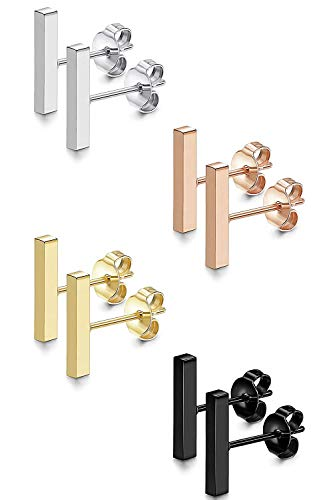 Adramata 4 Set Modeschmuck Stab Ohrringe Damen Männer Edelstahl Schwarz Rose Gold Ohrringe 6-12MM