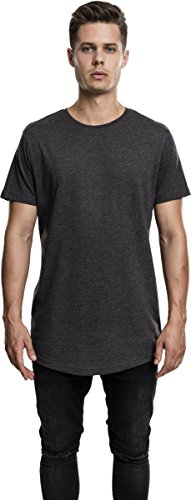 Urban Classics TB1767 Herren T-Shirt Shaped Melange Long Tee - Kurzarm Longshirt für Männer mit Rundhals-Ausschnitt und Abgerundetem Saum, Einfarbig - Farbe Charcoal, Größe XL (Tee Mann Lange)