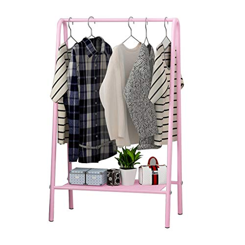 Schmiedeeisen Kleiderständer Boden Rack Schlafzimmer Kleiderbügel minimalistischen (Farbe : Pink)