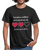 Spreadshirt Gamer Jeux-Vidéos Ruiné Ma Vie T-Shirt Homme, L, Noir