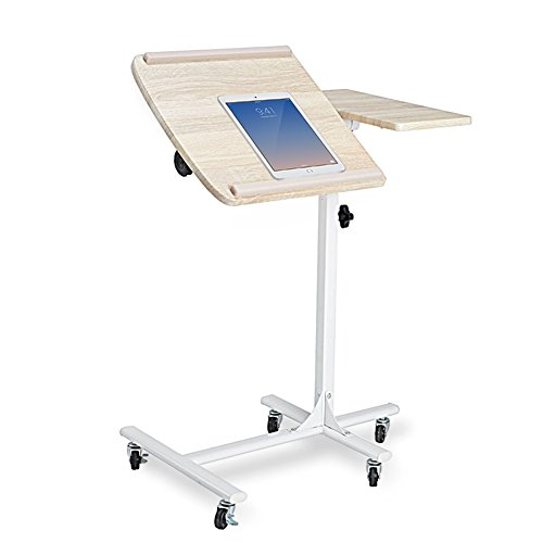 Coavas Portable Laptop Stand Desk Cart with Mouse Board Adjustable Table Sofa Bedside Table Overbed Table 5 Adjustable Height (beech)