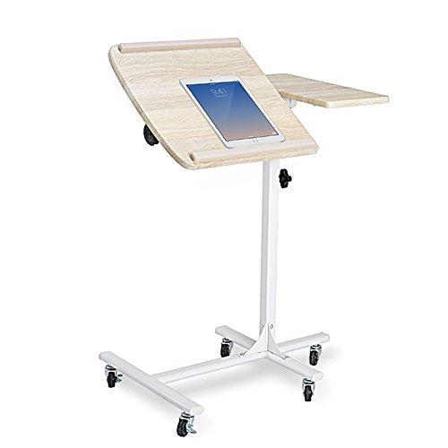 coavas Mesa Escritorio Auxiliar para Ordenador Portátil Tablet con Ruedas Altura y Ángulo de Lectura Regulable Blanco y Haya