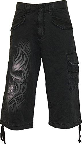 Rock gotico teschio tribale in metallo stile vintage Cargo pantaloncini 3/4L XL XXL Black L / 36W