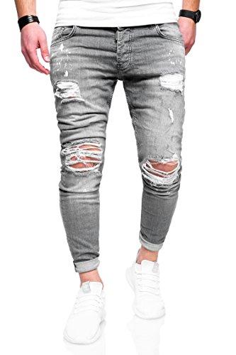 MT Styles Herren Destroyed Jeans Hose JN-3296 [Grau, W30/L32]