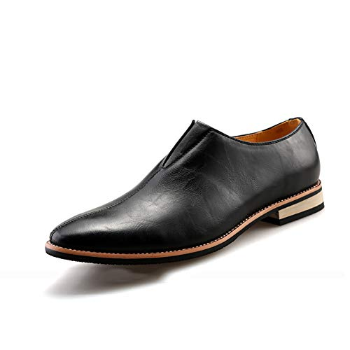 GPF-fei Herrenschuhe Loafers Schuhe Business Schuh Lazy Schuhe Leder Pointed Toe Peas Schuhe Comfortable Fashion Breathable Leisure,Black,43 Black Pointed Toe