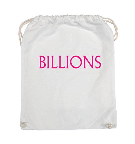 Borse Comiche - Miliardi - Logo - Turnbeutel - 37x46cm - Colore: Nero / Argento Bianco / Rosa