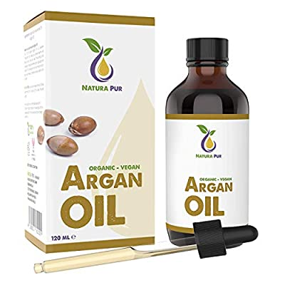 Natura Pur Organic Argan Oil 120ml - 100% native, cold pressed, vegan - from Morocco - anti-aging, anti-wrinkle serum for face, body, hair, skin, hands, nails