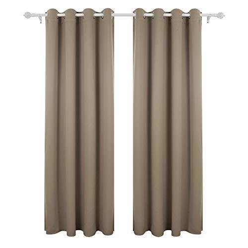 Deconovo Blickdicht Gardinen mit Ösen für Schlafzimmer Thermogardinen Vorhang Blickdicht 245x140 cm Taupe 2er Set