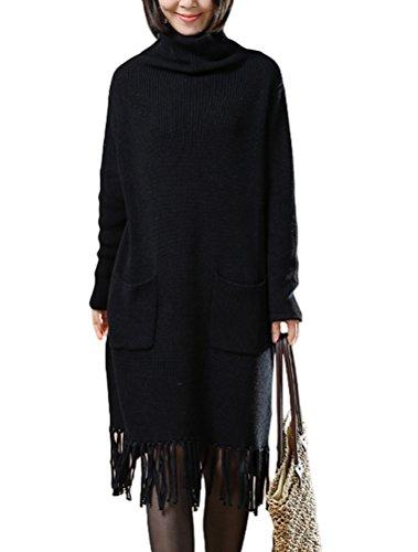 MatchLife Damen Rollkragen Quasten Lang Pullover Style1-Schwarz