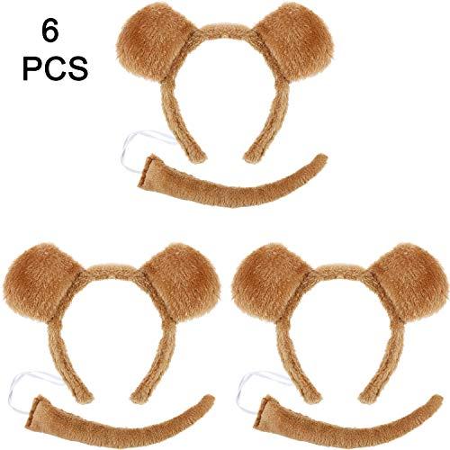 Kostüm Bären Ohren - WILLBOND 6 Stücke Bären Ohren Stirnband Bär Fliege und Bären Schwanz Kostüm Set für Halloween oder Kostüm Party Dekoration (Haarband mit Schwanz)
