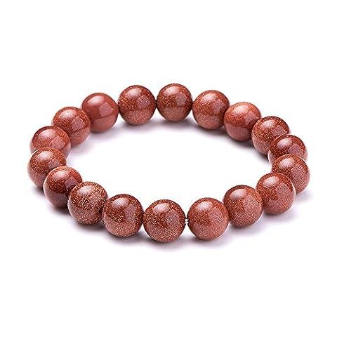 SUNNYCLUE Bracelet extensible en pierres précieuses naturelles or Goldstone authentiques 10mm Perles rondes environ 7