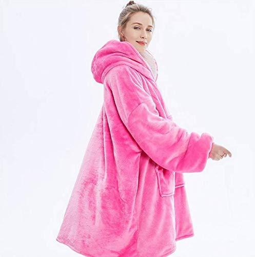 Blanket Hoodie Decke Sweatshirt weiche warme Plus große Vortasche Tv Decken für Erwachsene, Geschenkkarton,Rosa