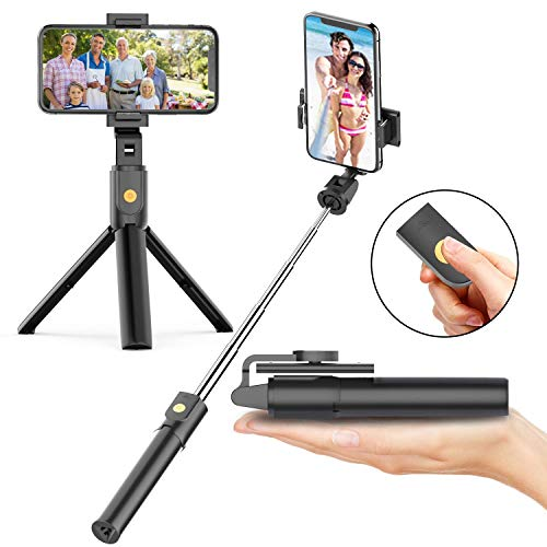 Soft Digits Bluetooth Selfie Stick Stativ, 3 in 1 Erweiterbar Monopod Wireless Selfie-Stange Stab 360°Rotation mit Bluetooth-Fernauslöse für iPhone Android Samsung -