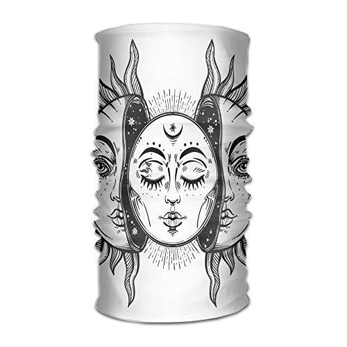 Womans Men Turban Monochrome Sun and Moon Pattern Oriental Image Asian Culture Inspired Design Print Campus Coverchief Apple-print-leggings
