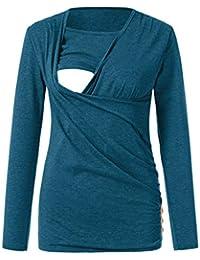 FRAUIT Maglia Premaman Divertenti Maniche Lunghe Camicia da Notte  Allattamento Magliette per Donna Incinta a Gestante 800ab8c2084