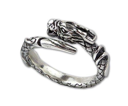 Ring Drache Dragon Drachenring aus 925er Sterling Silber (54 (17.2)) (Die Silver Dragon Ringe)