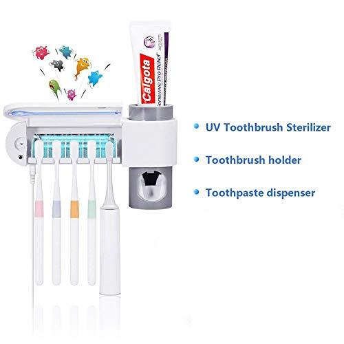 Ylmhe Zahnbürste Sterilisatoren Halter Zahnpasta Spender Mit 5 UV Zahnbürste Reiniger Vakuum Pumpe Passen Zum Kinder Und Erwachsene