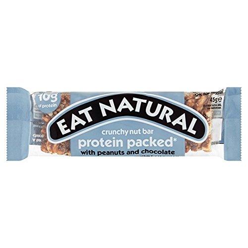 Essen Sie natürliches Protein Verpackt Erdnüsse und Schokolade 45g (Packung mit 12 x 45g) (45g Protein)