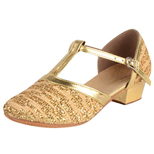 Oasap Round Toe Sequin T-strap Latin Dance Shoes Gold