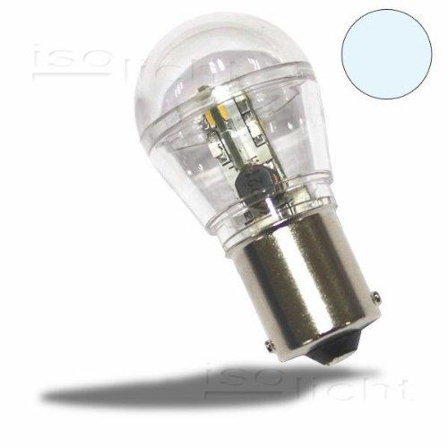 BA15d LED Birne DC 0,7 Watt 12V kaltweiß 6500K, 68 Lumen, so hell wie eine 5 Watt Glühbirne, Double Contact Bajonett Sockel, LED Ersatz für Innenlicht im Caravan, als Bootsbeleuchtung, Suchscheinwerfer, 10-30V/DC, für LKW und PKW geeignet - LED Licht für mobilen Einsatz von Isolicht (Bajonett-sockel)
