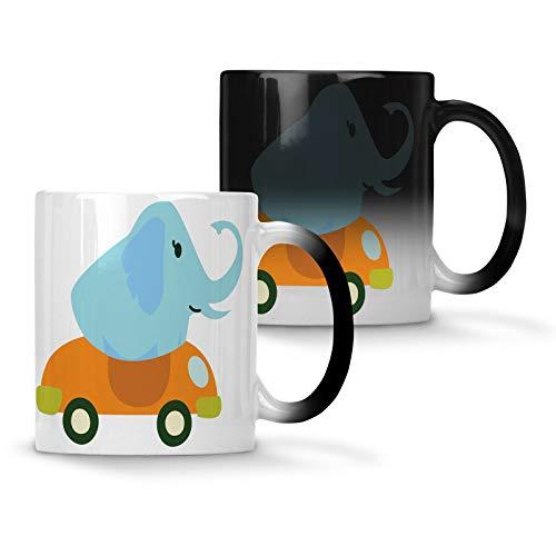 Elefant conduciendo un descapotable color cambiando la taza 330 ml v988w