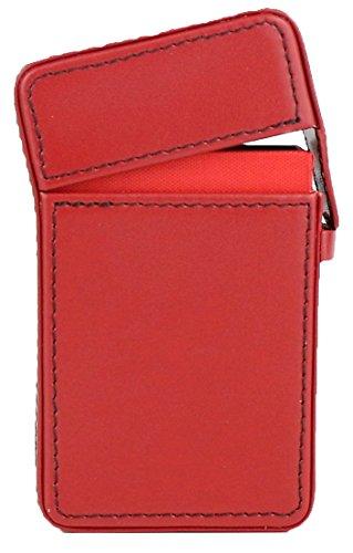 Hochwertiges in Handarbeit gefertigtes Luxus Zigarettenetui aus feinstem Top Grade Rindsleder mit Kontrastnähten (rot)
