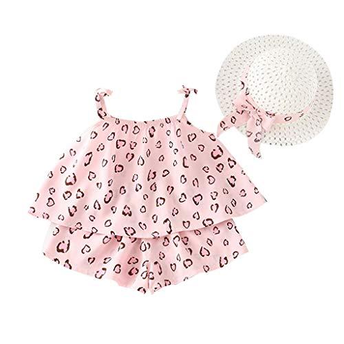 Verkauf Kostüm Für Elf - SUNFANY Schöne Kleider für Mädchen Sommer Ärmellos Fruchtdruck Top + Shorts Festliches Kostüm Kleiden Prinzessin + Strohhut Gr. 18M-5Y(Mehrfarbig,11/2-3 Jahre)