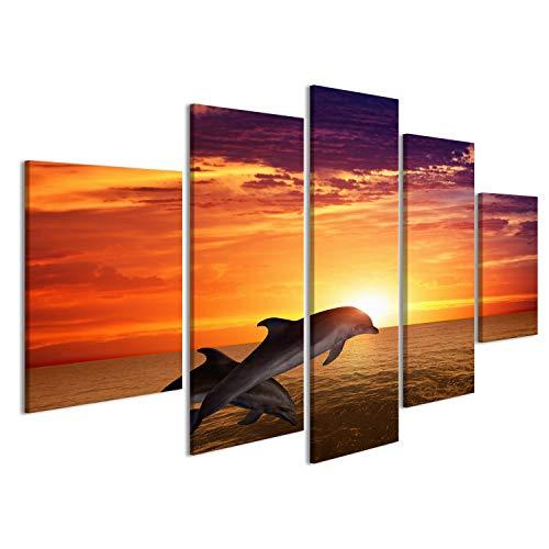 islandburner Bild Bilder auf Leinwand Marine Leben Hintergrund - Springen Delfine, schöne rote Sonnenuntergang am Meer Wandbild, Poster, Leinwandbild EPO