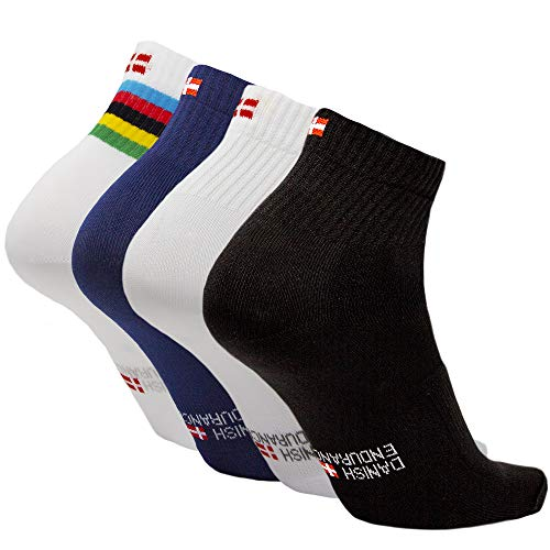 DANISH ENDURANCE Cycling Socks (Multicolour 3 Pairs (1 x stripes, 1 x black, 1 x blue), UK 9-12 // EU 43-47)