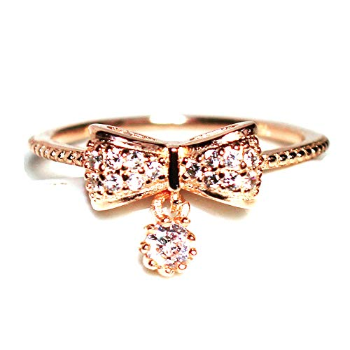 Gieschen Jewelers 14K CZ Crystal Dainty Ring -Agnese- - Rose Gold Plated Size H (Touchstone Crystal Schmuck)