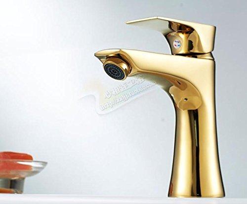 Sunsui Nouveau plaqué or en laiton petit poignée simple orifice unique de l'eau froide réduit lavabo mitigeur