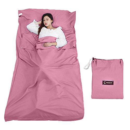 Queta - Fodera per sacco a pelo con custodia, leggera, ideale per hotel, montagna, campeggio, attività all'aperto, rosa