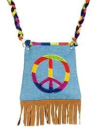 Hippie Tasche Peace mit Fransen - Umhängetasche in Jeans Optik zum Kostüm