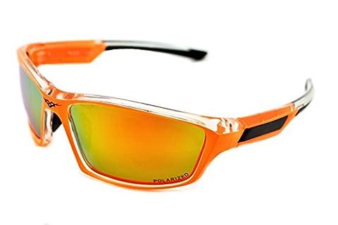 VertX Polarized Leicht Haltbar Herren & Damen Athletik Sport Sonnenbrille Radfahren Laufen w/GRATIS Mikrofaser Tasche - Neon Orange Rahmen - Orangefarbenes (Leichtem Polycarbonat-rahmen)